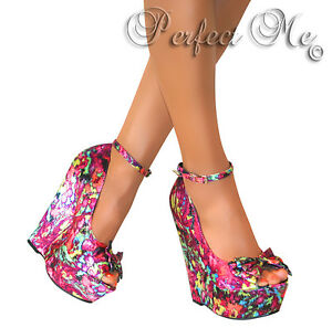 LADIES PEEP TOE BOW HIGH WEDGE HEELS SHOE PLATFORM STRAPPY SUMMER SANDALS SIZE