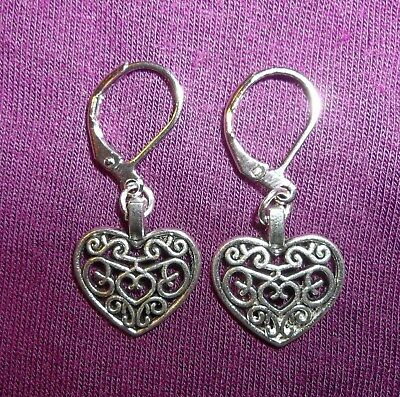 - Filigree HEART EARRINGS Lever back Silver Drop Dangle Love Jewelry Gift New
