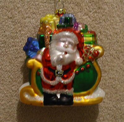 Glass GREEN & GOLD SLEIGH w/SANTA Christmas Ornament - NEW