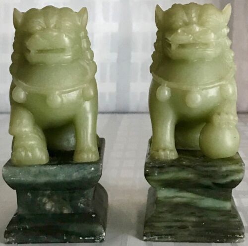 Pair of VINTAGE Asian Green Lion Soapstone Bookends