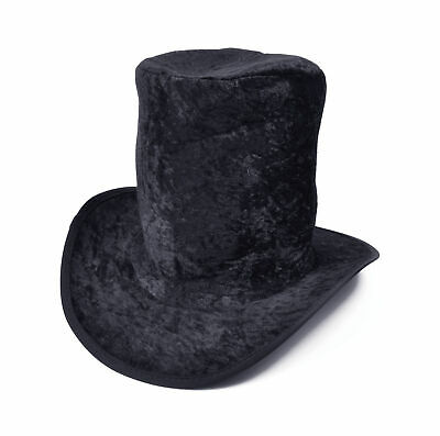 Black Velvet Top Hat Willy Wonka Mad Hatter - Willy Wonka Hat