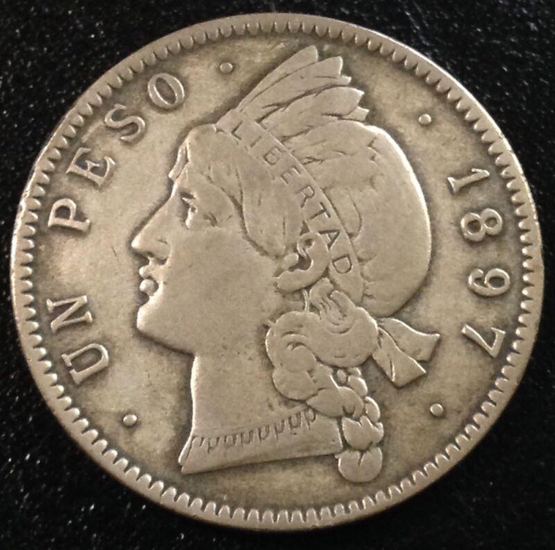 DOMINICAN REPUBLIC 1 Peso 1897 - Silver - VF