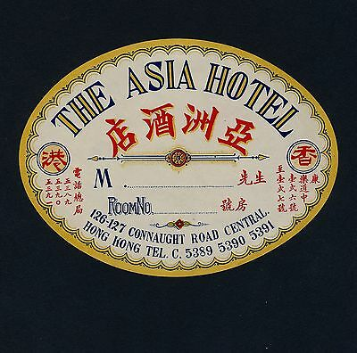 The Asia Hotel HONG KONG Hongkong Asia * Old Luggage Label Kofferaufkleber