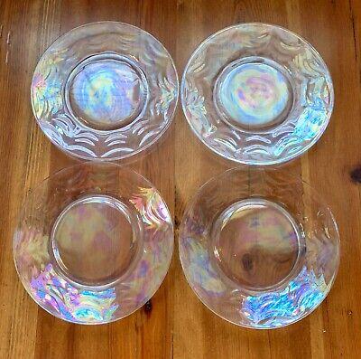 4 Vintage Fostoria Opalescent / Iridescent Optic Loop Salad Plates 7.5