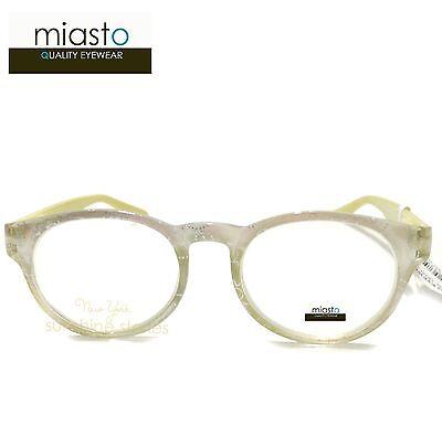 MIASTO ROUND PREPPY READER READING GLASSES+2.50 YELLOW WHITE PEARL (TAIWAN)