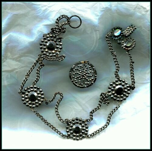 ANTIQUE CUT STEEL NECKLACE AND BUTTON WITH RING AT TOP TO USE AS PENDANT.