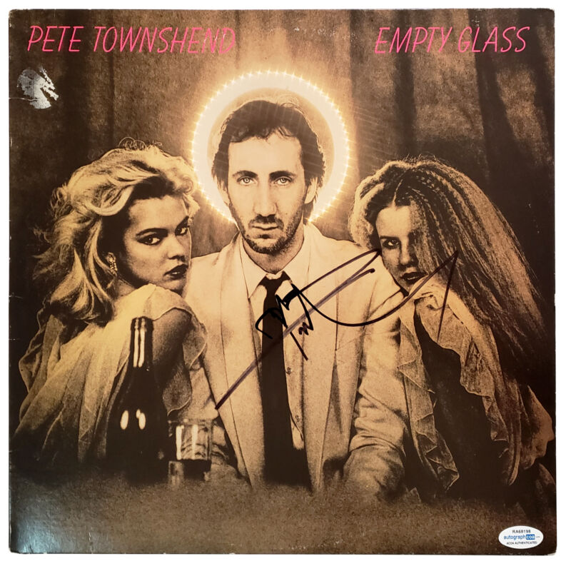 The Who Pete Townshend Autographed Empty Glass Record Album LP ACOA