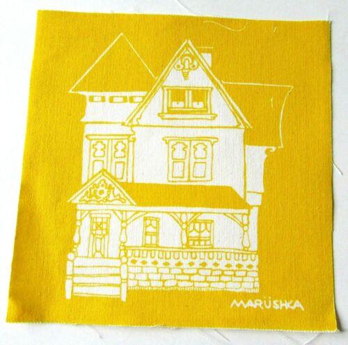 MARUSHKA Textile Print Panel Fabric Piece Victorian House on Yellow