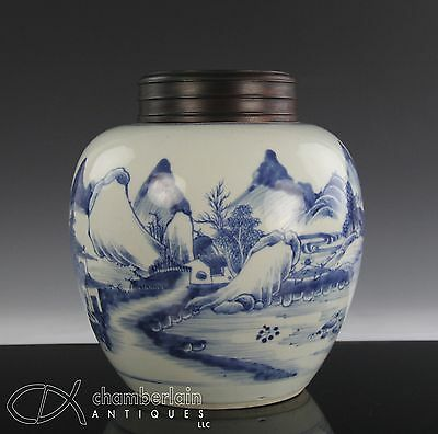 ANTIQUE CHINESE BLUE WHITE PORCELAIN JAR WITH WOOD COVER