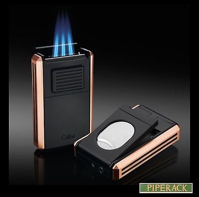 Colibri Astoria III Rose Gold Triple Jet Lighter With Fold-Out Cigar Cutter New