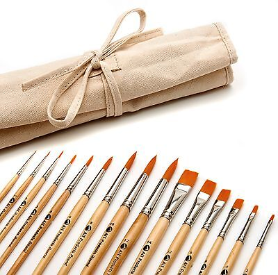 Paint Brush Set, 15 Artist Brushes, Acrylic Oil Watercolor Painting Art Supplies, used for sale  Shipping to Canada