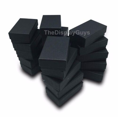 "Lot of 100 pcs 2 5/8""x1 1/2""x1"" Matte Black Cotton Filled Jewelry Boxes"