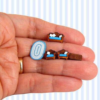 1/144th Scale Dollhouse Miniature Blue Sofa Set Coffee Table Cushions So Tiny
