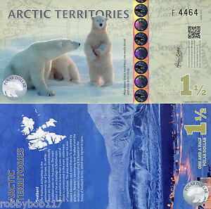 ARCTIC-Territories-1-Dollar-Banknote-World-Money-Currency-FUN-Note-Polar-Bears
