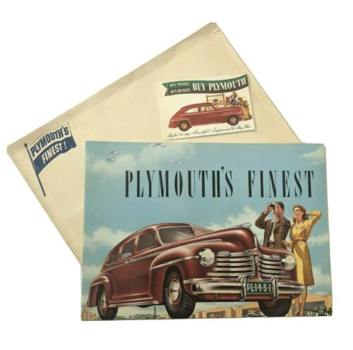 1942 Plymouth Brochure w/ Original Postcard and Envelope! New Old Stock