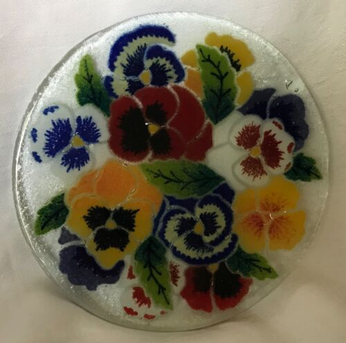 """2001 Peggy Karr - Pansies 8"""" Plate - Signed & Retired"""