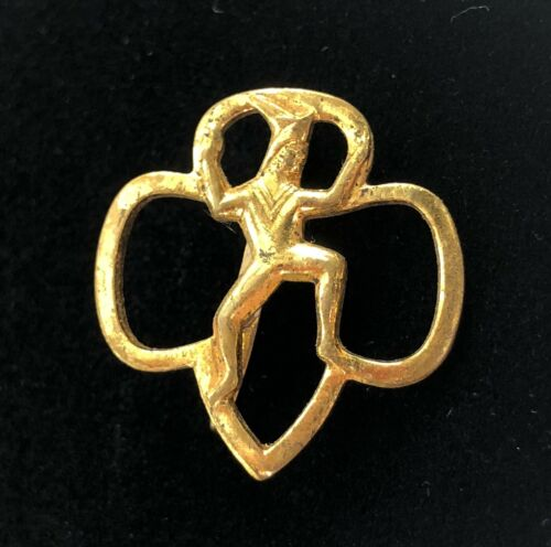 Vintage Girl Scout Guide Sprite Scarf Slide Gold Tone Metal Uniform HTF