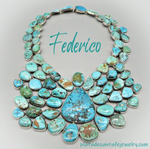 Federico Jimenez-Mid Century Mined Turquoise Cluster-925 SHOWSTOPPER Necklace
