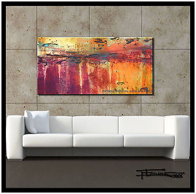 ABSTRACT CANVAS PAINTING MODERN WALL ART 48in.  Large Signed US    ELOISExxx