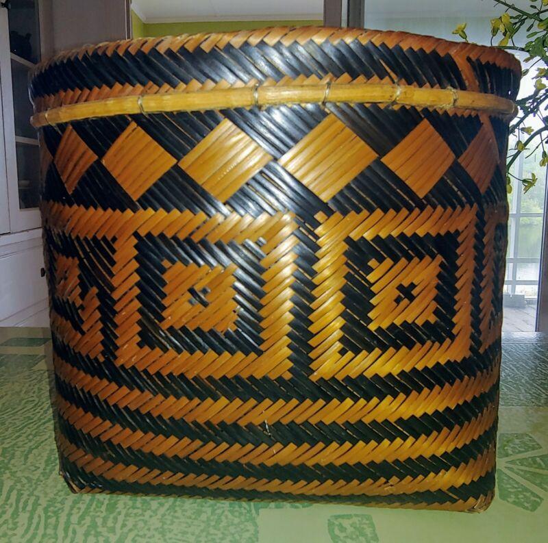 Native American Double Weave Cherokee River Cane Large Geometric Basket