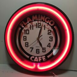 Flamingo Cafe Pink Neon Clock 14 Works!
