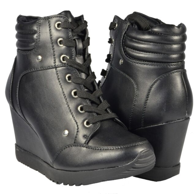 Women Fashion Shoes High Top Ankle BOOTS Wedge SNEAKERS Hidden ...