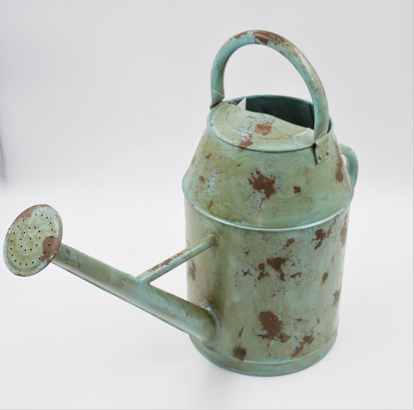 Gießkanne weiß 5 L Wasserkanne  2 Griffen Vintage Garten Metall Blumengießkanne