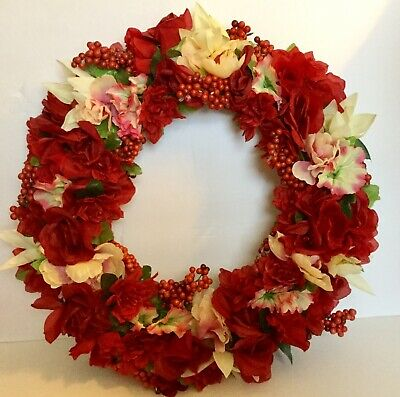 Red, white, pink artificial flower wreath. Rose, peony, lily, and morning glory. (Red Rose Wreath)