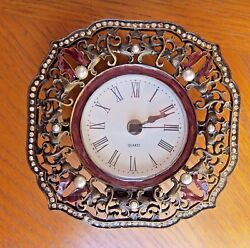 Metal Tabletop Clock Embellished with Faux Gems / Shontek /Quartz / AAA Battery