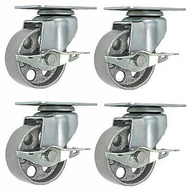 """4 All Steel Swivel Plate Caster 3"""" Wheels with Brake Lock GRAY Heavy Duty"""