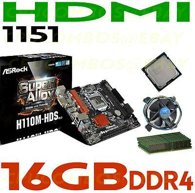 Intel G4600 CPU LGA1151+16GB DDR4 RAM+ASRock H110M-HDS R3.0 HDMI Motherboard NEW
