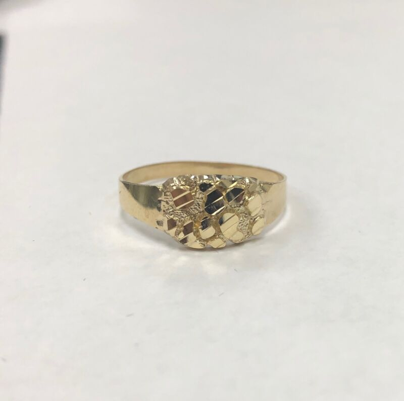 Mens Nugget Oval Ring Real Solid 10K Yellow Gold ALL SIZES Unisex