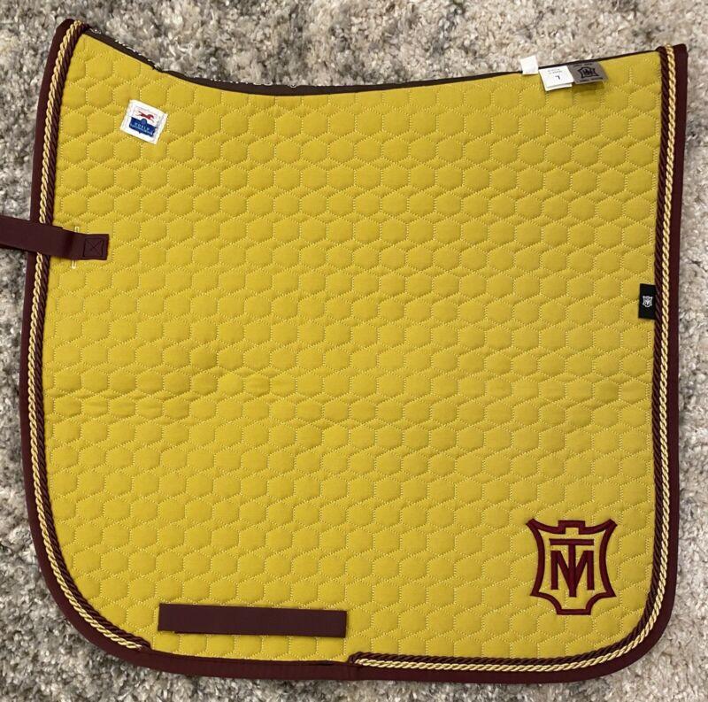 Mattes Square Cotton Quilt Dressage Pad - Curry/Blackberry/Gold - Large