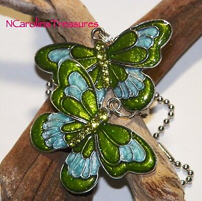 GREEN AQUA BUTTERFLIES SILVER BUTTERFLY CEILING FAN LIGHT SWITCH PULL LARGE PAIR