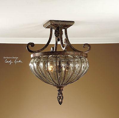 HAND BLOWN BRONZE WROUGHT IRON CEILING LIGHT CEILING FIXTURE RUSTIC & TUSCAN (Tuscan Bronze Ceiling Fixture)