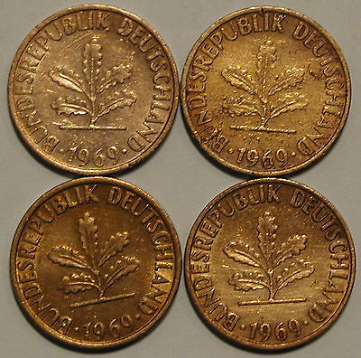 1 Pfennig 1969 D F G J Kompletter Satz