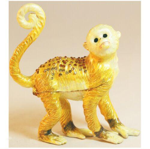 Bejeweled Enameled Animal Trinket Box/Figurine With Rhinestones-Big Monkey