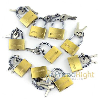 "10 pack Lot 1"" Inch Key Padlock Mini Tiny Small Brass Lock Luggage Toolbox"