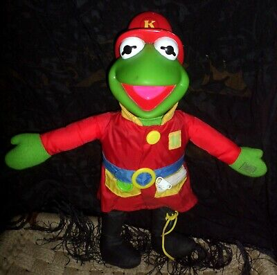 Vintage 1990 Firefighter Kermit the Frog Fireman Learn to Dress Plush Doll Arco (Kermit The Frog Dress)