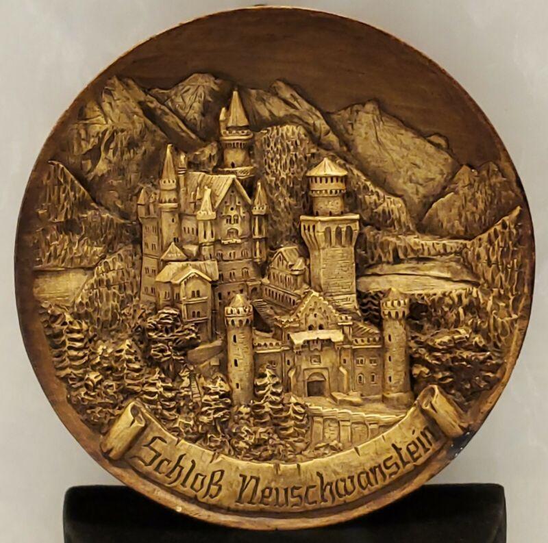 Vintage German Wood Resin Carved Wall Plate Of Neuschwanstein Castle