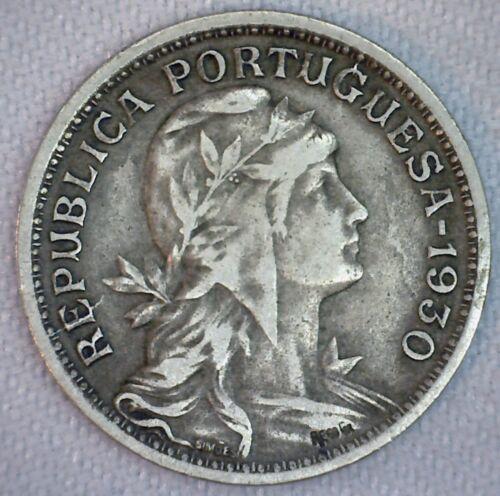 1930 Portugal Copper Nickel 50 Centavos Coin VF Very Fine