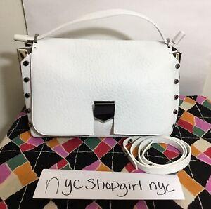 adcaba4399c NEW JIMMY CHOO LOCKETT White Blue Grainy Leather Leopard Shoulder Purse  Handbag