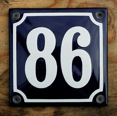 10x10cm. WHITE No.54 ON A BLUE BACKGROUND FRENCH ENAMEL SIGN HOUSE NUMBER 54