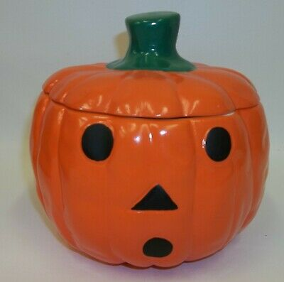 Spooky Halloween Pumpkin Jack O Lantern Ceramic Candy Cookie Jar - Mint in Box