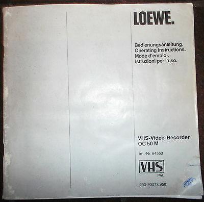 Alte Bedienungsanleitung für VHS-Video-Recorder OC50M von LOEWE