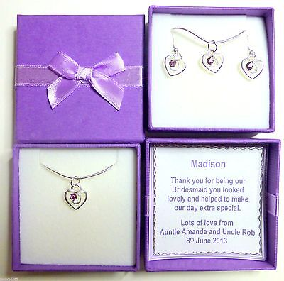 Rhinestone Heart Necklace or Set with Earrings Bridesmaid Christmas Gift ()
