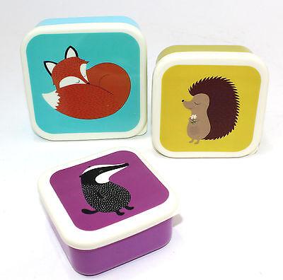 3 er Set Brotdose Lunchbox Snackbox Obst Kindergarten Fuchs Igel Dachs rusty