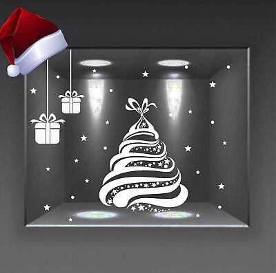 adesivi vetrine vetrofanie wall stickers addobbi natale christmas albero a0730