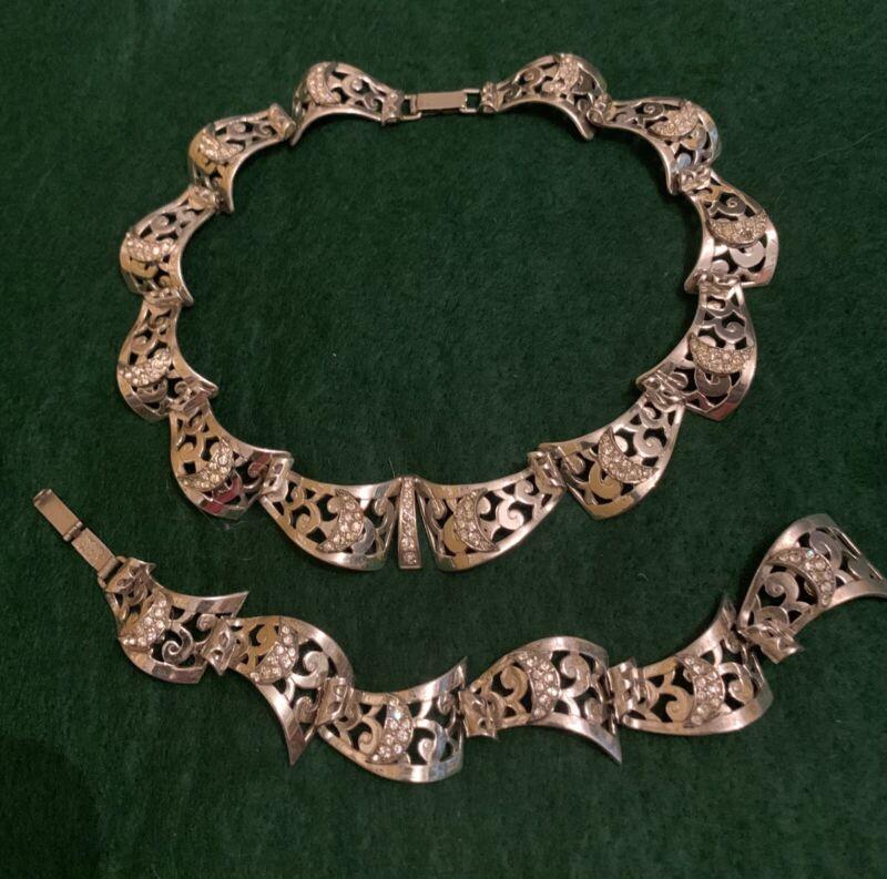 Vintage Marcel Boucher Parisina Sterling Necklace Bracelet Set Mexico
