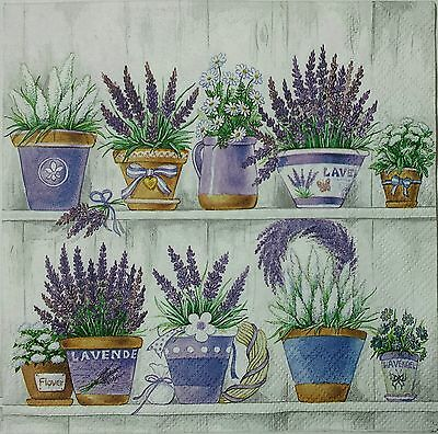 LAVENDER GARDEN POTS 2 single LUNCH SIZE paper napkins for decoupage 3-ply